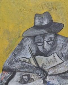 """ Son triol verd IOriginal neo expressionist mixed media painting"