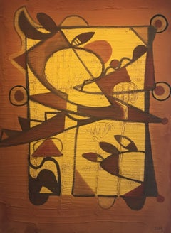 Almendro en flor. original  abstract. acrylic painting. ocher and yellow