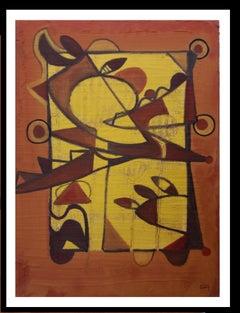 Almendro en flor. original  abstract. acrylic painting. ocher and yellow