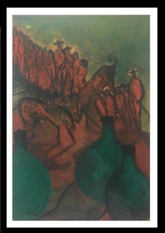 Mexico II green- original neo-expressionist acrylic painting
