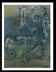 Sea Horse- original neo-expressionist acrylic painting