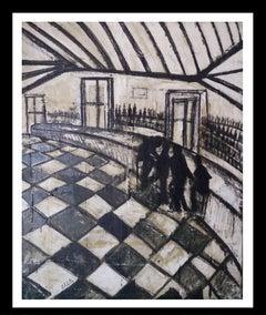 . El Tamarell Bar original Neo-expressionist acrylic  painting