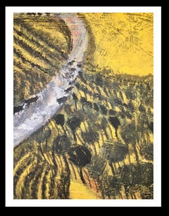 """"""" Sky, Black and Yellow """" - Original neo-expressionist mixed media painting"""