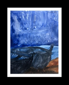 boat- original neo-expressionist acrylic painting