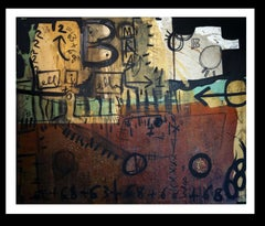Brown ocr green. Original .Abstract.acrylic painting