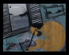 Caldentey Paris.original neo-expressionist mixed media acrylic painting- 2014