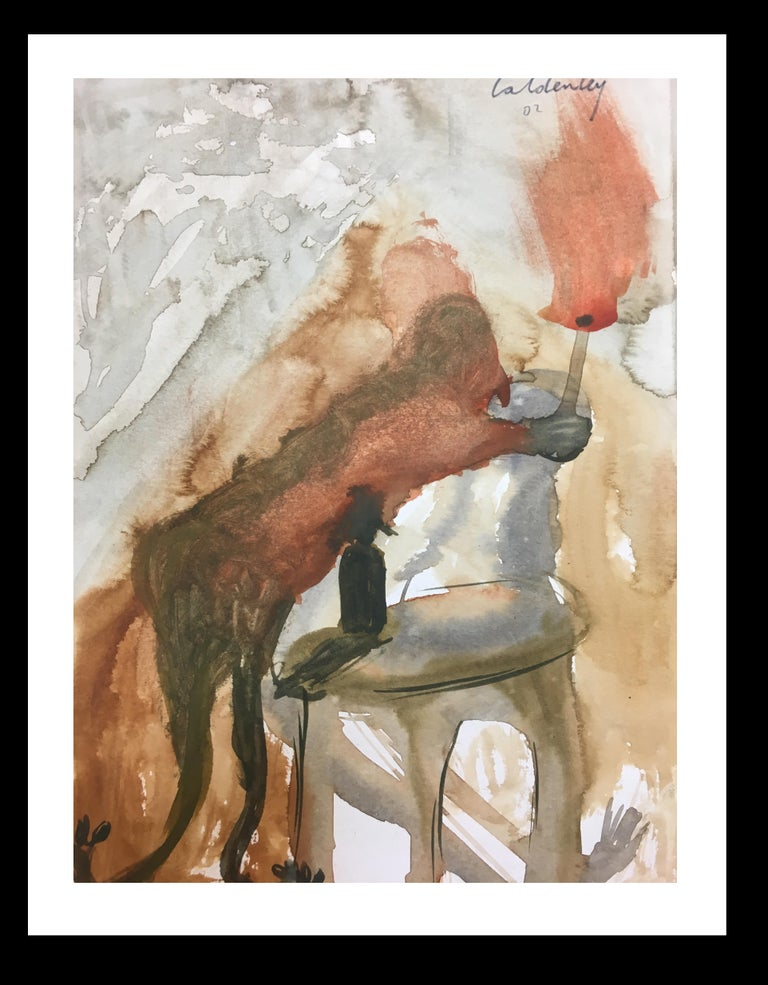 Toni CALDENTEY Interior Painting -  chair- original neo-expressionist acrylic painting