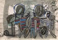circo- original neo-expressionist acrylic paper painting