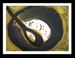 cuchura y plato original neo figurative acrylic paper painting