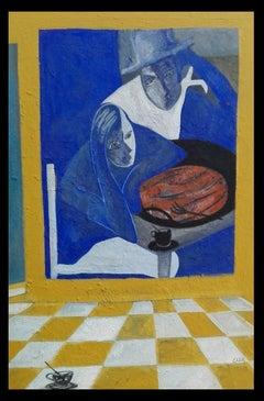 La cocina del estudio- original neo-expressionist acrylic canvas painting
