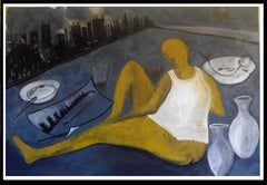 On the balcony looking New York.-original neo-expressionist acrylic painting