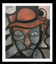 portrait of a character- original neo-expressionist acrylic painting