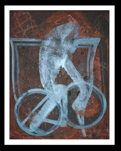 Red Roads Bike - Original Neo-expressionist mixed media acrylic painting