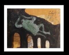 serie Mallorca original neo figurative acrylic paper painting