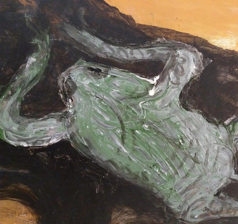 serie Mallorca original neo figurative watercolor paper painting - Black Figurative Painting by Toni CALDENTEY