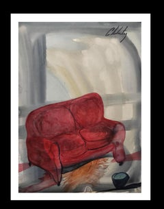 serie Mallorca original neo figurative watercolor paper painting