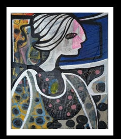 Woman Lina- Original Neo-expressionist Mixed media painting