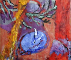Desert Moon, Abstract and Colorful Oil Painting on Canvas, Red warm background