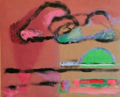 Sunset in Tel Aviv, Expressionist Oil on Linen, Rose and Green, Bold Colours