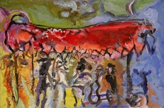 Wedding Under the Canopy - figurative oil on linen, rich bold colors