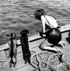 Woman with Two Dachshunds