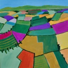 Countryside Fields, Painting, Acrylic on Canvas