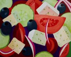 Greek Salad, Painting, Acrylic on Canvas