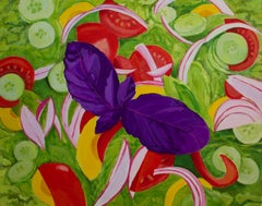 Green Salad with Opal Basil, Painting, Acrylic on Canvas
