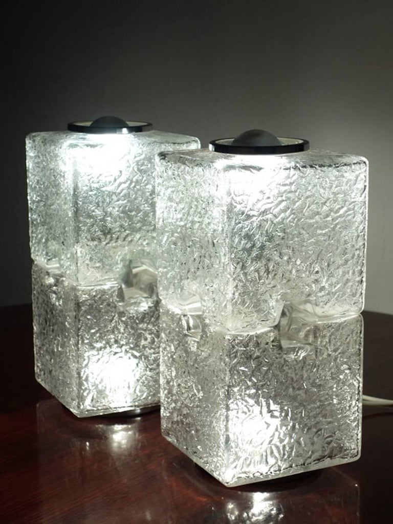 Steel Toni Zuccheri by VeArt Murano Glass 1970s Italian Design Pair of Table Lamps For Sale
