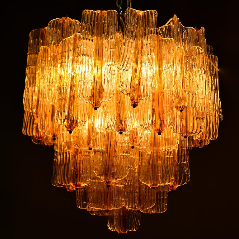 Toni Zuccheri for Venini Chandelier in Two-Toned Glass For Sale 5