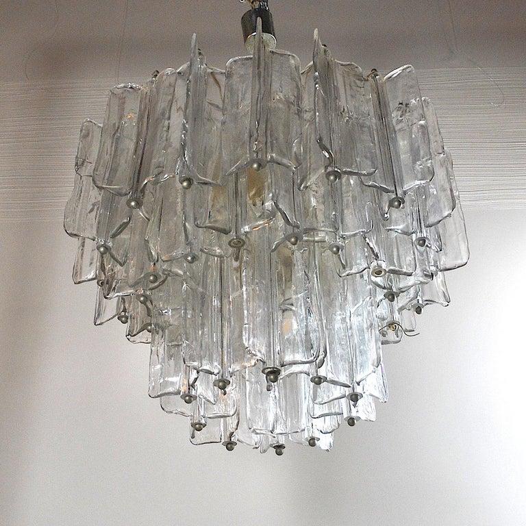 Toni Zuccheri for Venini Italian midcentury chandelier in Murano glass from the 1950s.