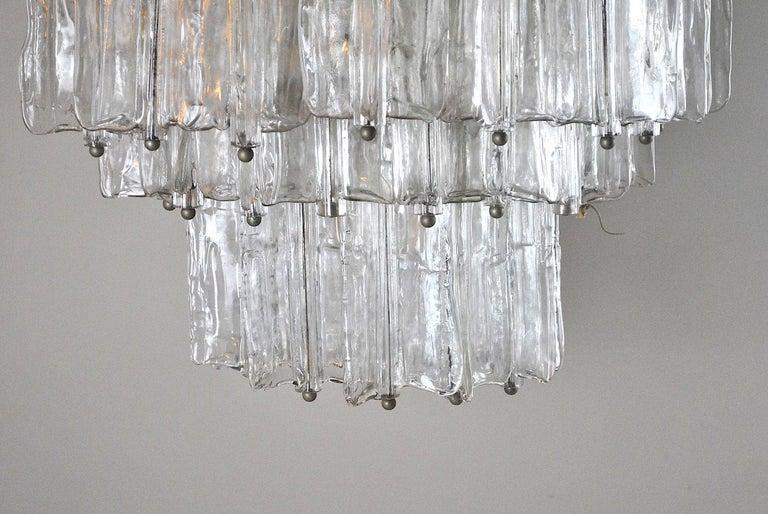 Murano Glass Toni Zuccheri for Venini Italian Midcentury Chandelier For Sale