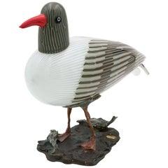 Toni Zuccheri for Venini Murano Seagull Mouth Blown Glass Bird Sculpture