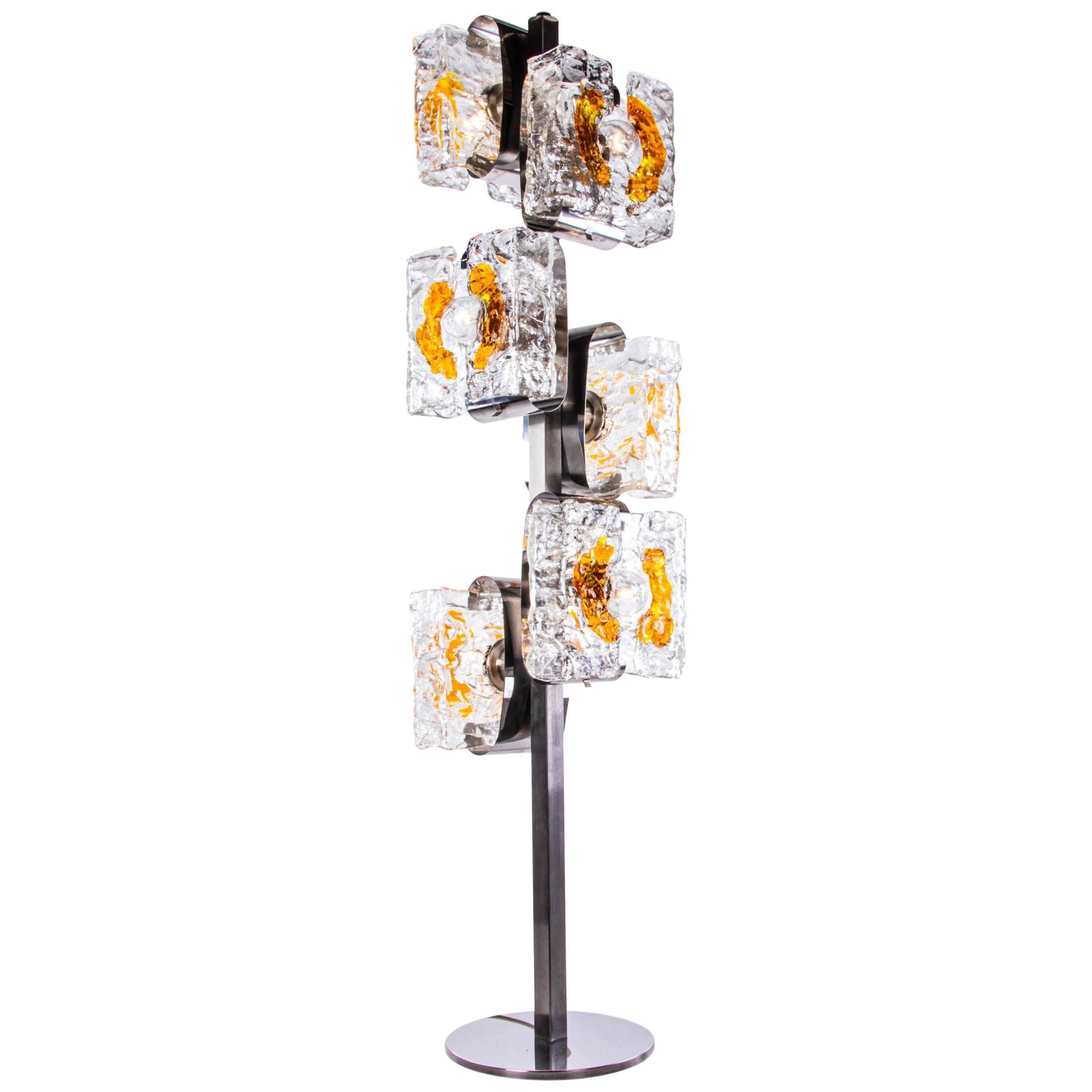 1970 Italy Toni Zuccheri & Mazzega Floor Lamp Amber Murano Glass & Chrome