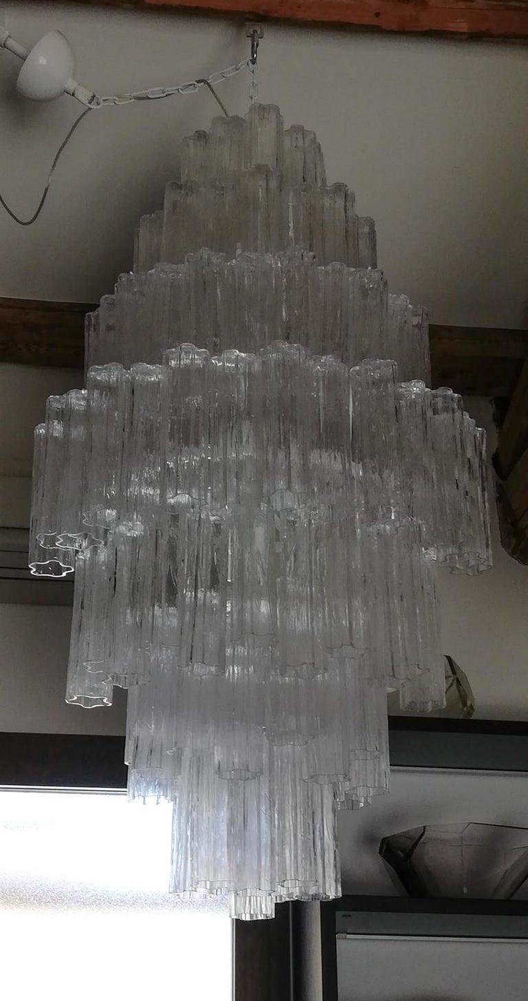 Toni Zuccheri Mid-Century Modern Crystal Murano Glass Chandelier for Venini 1980 For Sale 4
