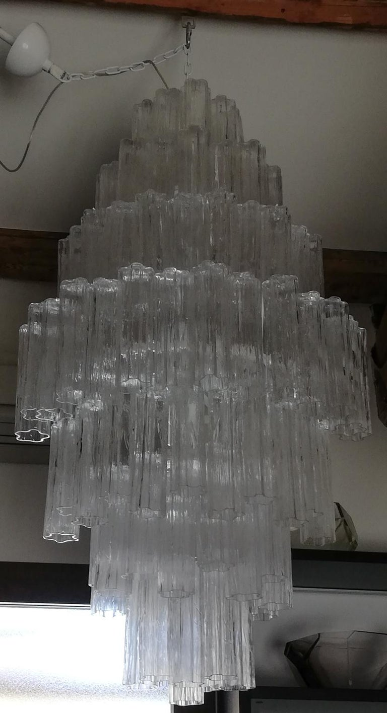 Toni Zuccheri Mid-Century Modern Crystal Murano Glass Chandelier for Venini 1980 For Sale 5