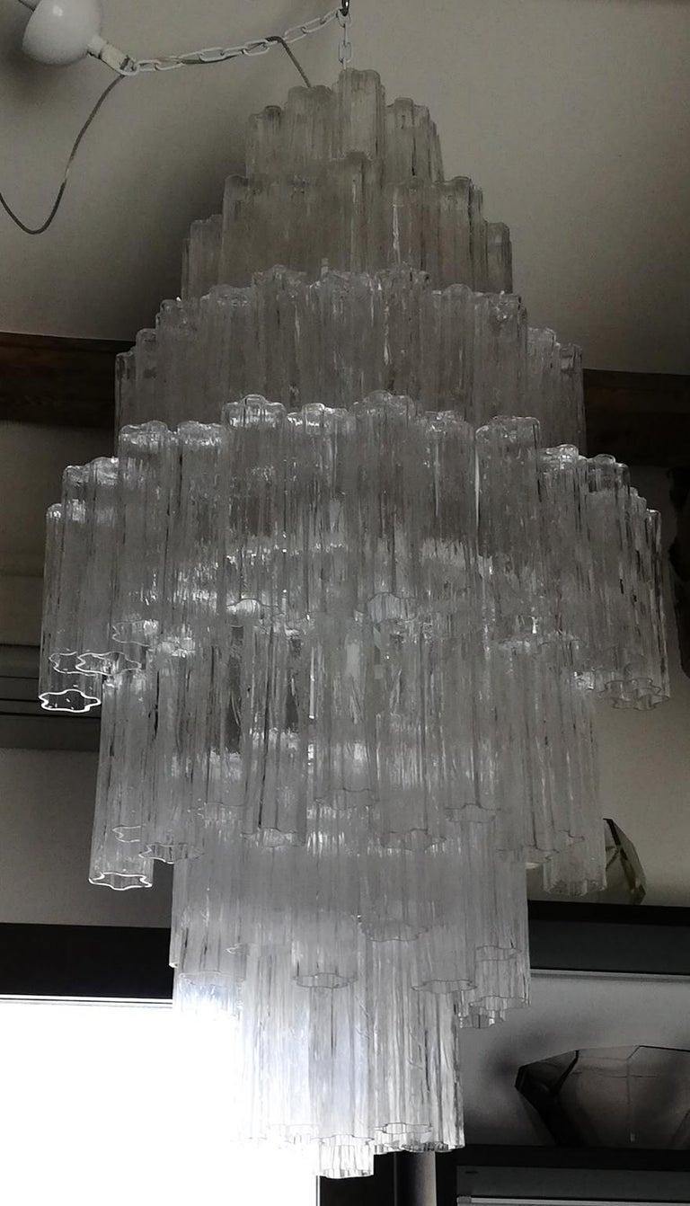 Toni Zuccheri Mid-Century Modern Crystal Murano Glass Chandelier for Venini 1980 For Sale 6