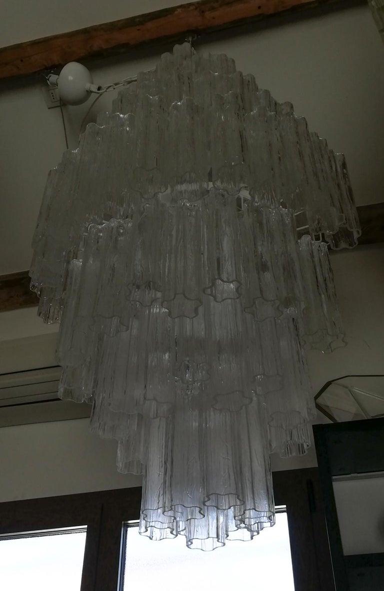 Toni Zuccheri Mid-Century Modern Crystal Murano Glass Chandelier for Venini 1980 For Sale 7