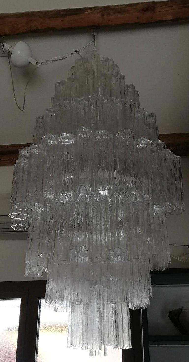 Toni Zuccheri Mid-Century Modern Crystal Murano Glass Chandelier for Venini 1980 For Sale 8