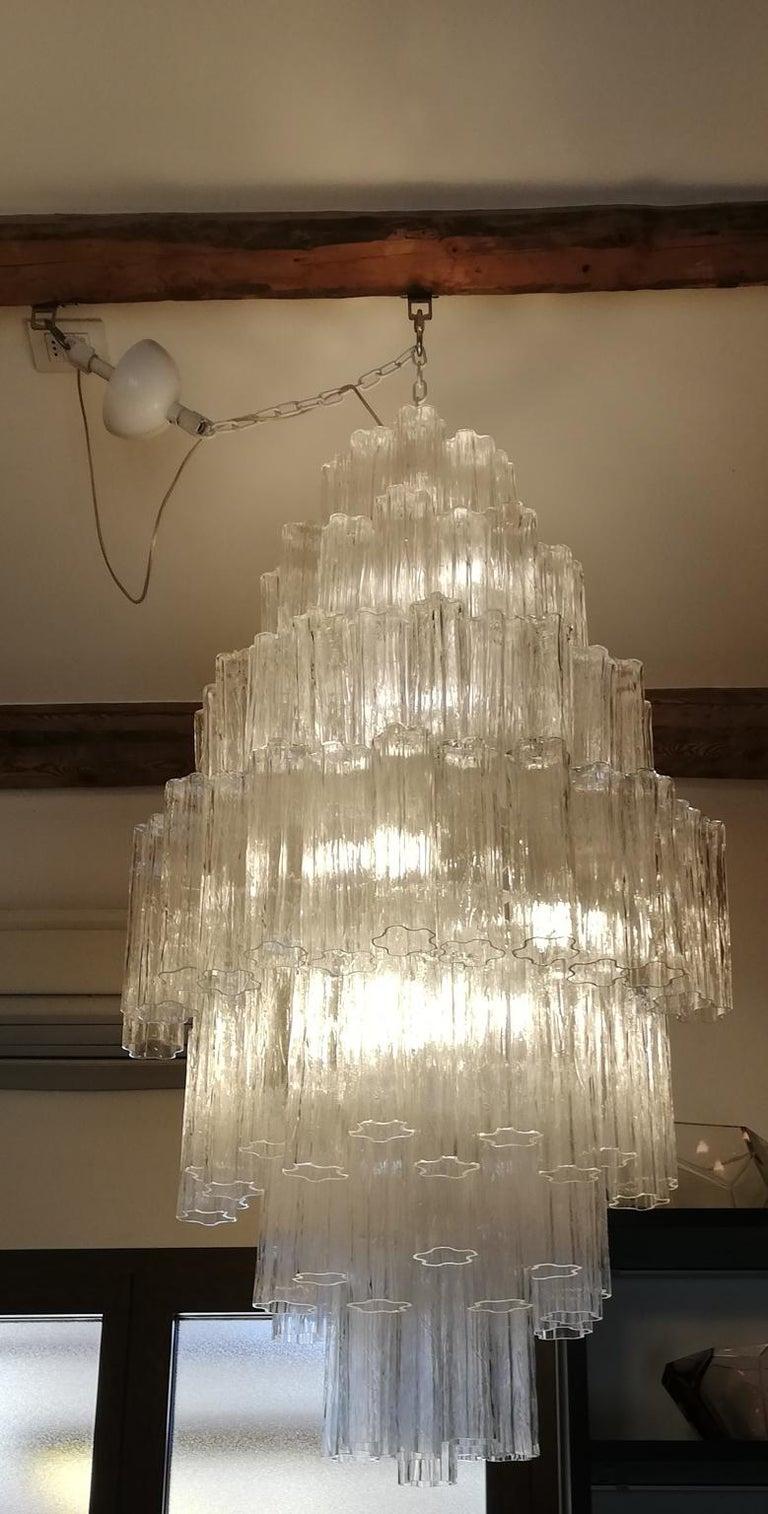 Toni Zuccheri Mid-Century Modern Crystal Murano Glass Chandelier for Venini 1980 For Sale 9