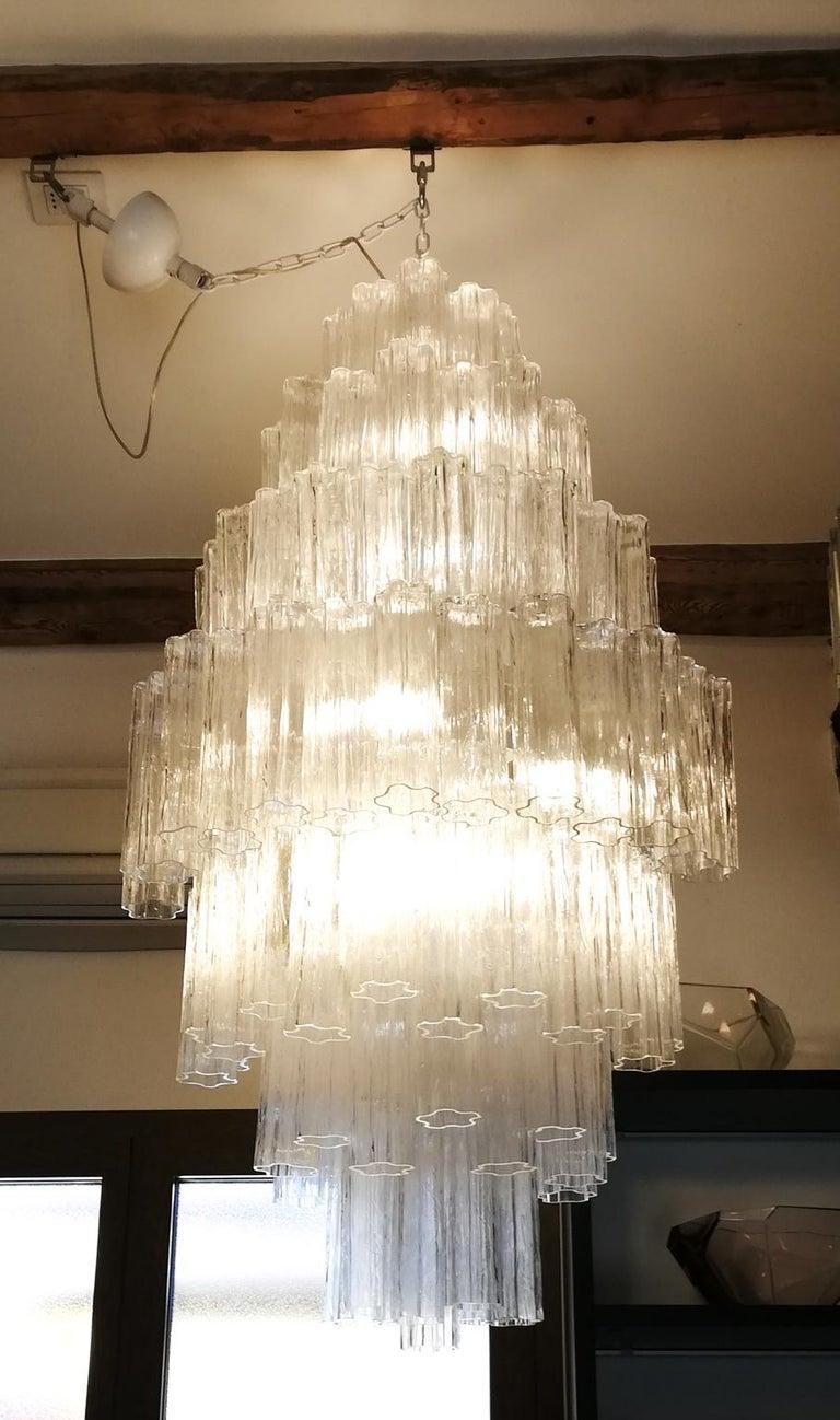 Toni Zuccheri Mid-Century Modern Crystal Murano Glass Chandelier for Venini 1980 For Sale 11