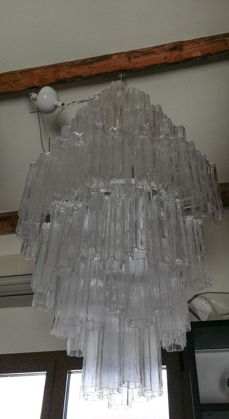 Italian Toni Zuccheri Mid-Century Modern Crystal Murano Glass Chandelier for Venini 1980 For Sale