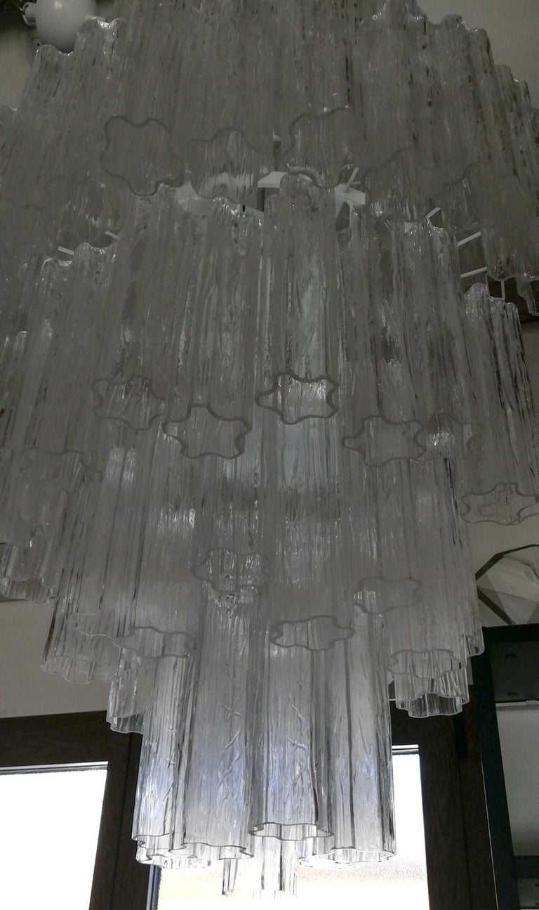 Hand-Crafted Toni Zuccheri Mid-Century Modern Crystal Murano Glass Chandelier for Venini 1980 For Sale