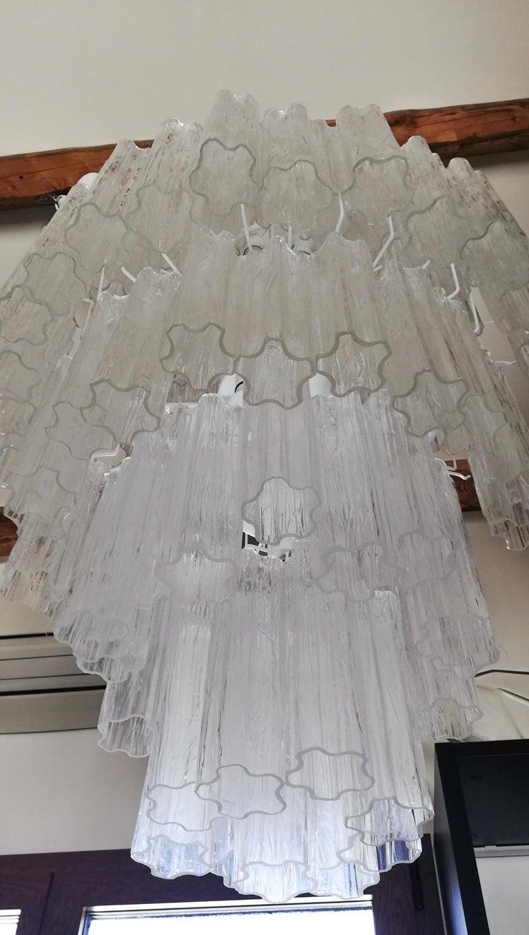 Late 20th Century Toni Zuccheri Mid-Century Modern Crystal Murano Glass Chandelier for Venini 1980 For Sale