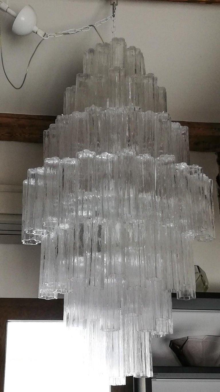 Toni Zuccheri Mid-Century Modern Crystal Murano Glass Chandelier for Venini 1980 For Sale 2