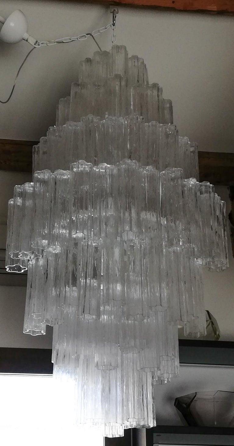 Toni Zuccheri Mid-Century Modern Crystal Murano Glass Chandelier for Venini 1980 For Sale 3