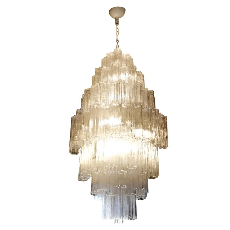 Toni Zuccheri Mid-Century Modern Crystal Murano Glass Chandelier for Venini 1980 For Sale
