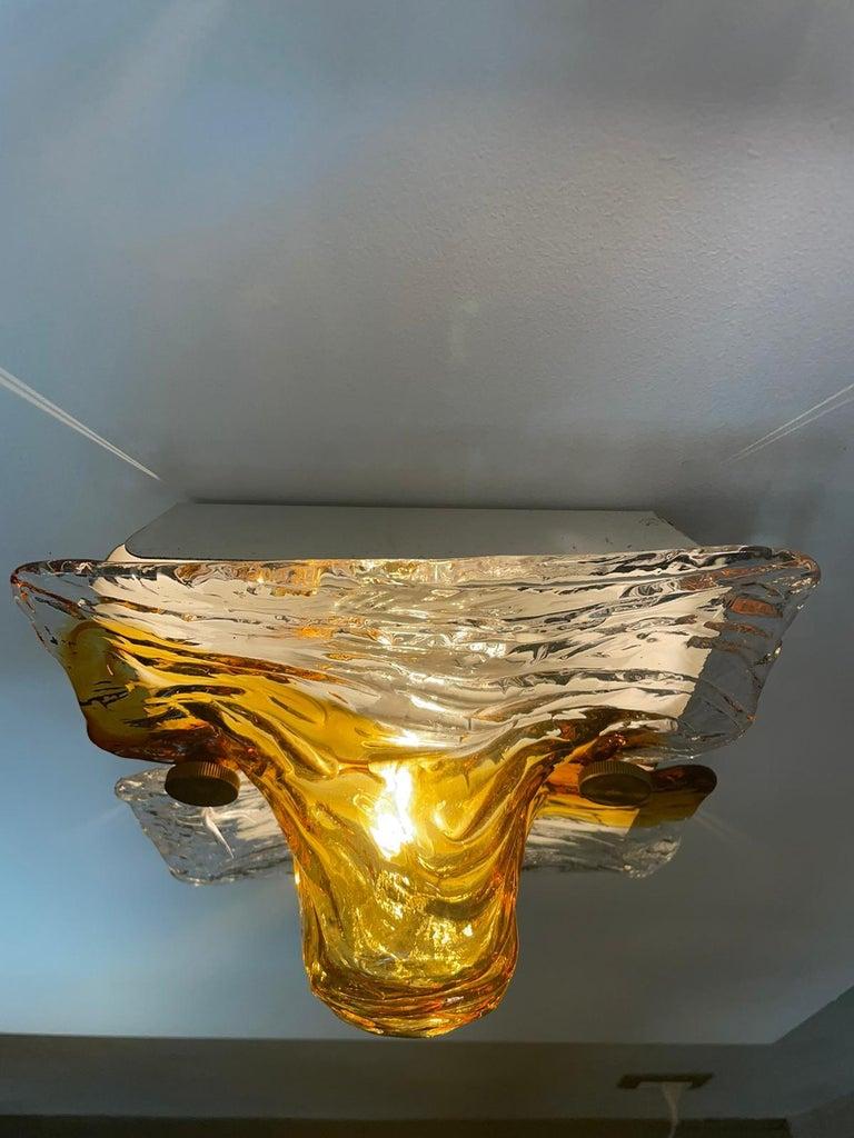 Mid-Century Modern Toni Zuccheri Venini Quilt Pair of Wall Lights Murano Glass Brass, Italy, 1960s For Sale