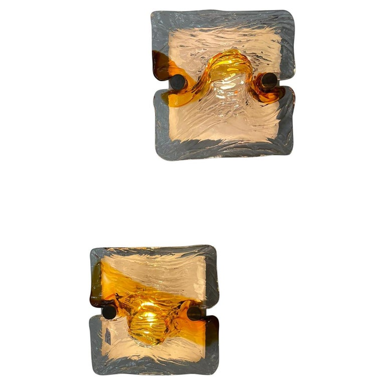 Toni Zuccheri Venini Quilt Pair of Wall Lights Murano Glass Brass, Italy, 1960s For Sale