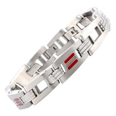Tonino Lamborghini Corsa Collection Stainless Steel Red & White Crystal Bracelet